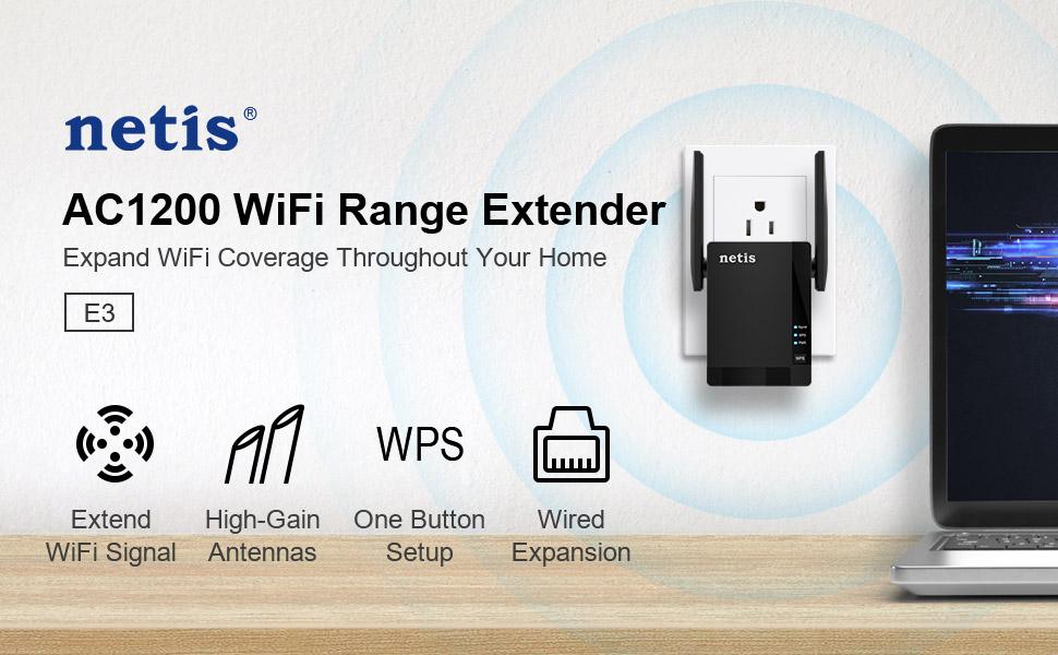 NETIS E3 AP/Extender de interior WIFI5 1200 Mbps