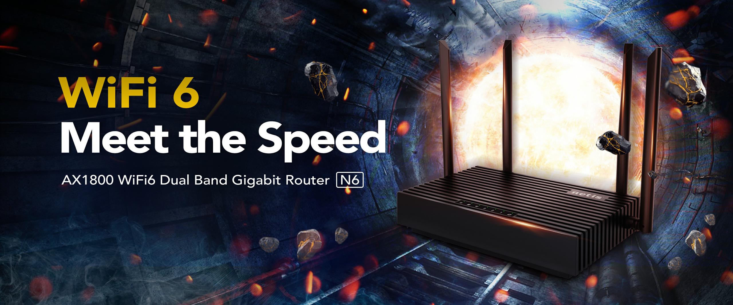 NETIS N6 Router Wifi6 2×2 1800 Mbps 4 puertos Gigabit+ 1 Wan Gigabit, 4 antenas 5 dBi (2 por Banda)